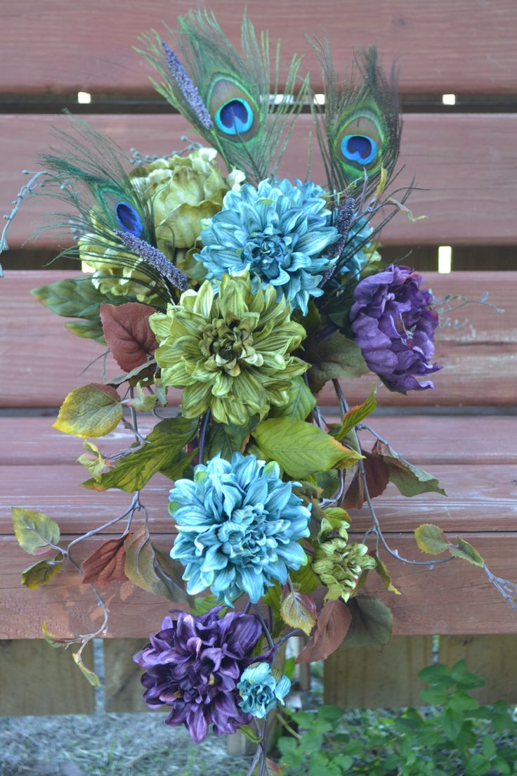My Day Bouquet - Cascading Peacock Centerpiece or Aisle Decoration!!!