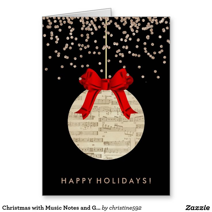 Christmas with Music Notes and Gold Confetti Greeting Card