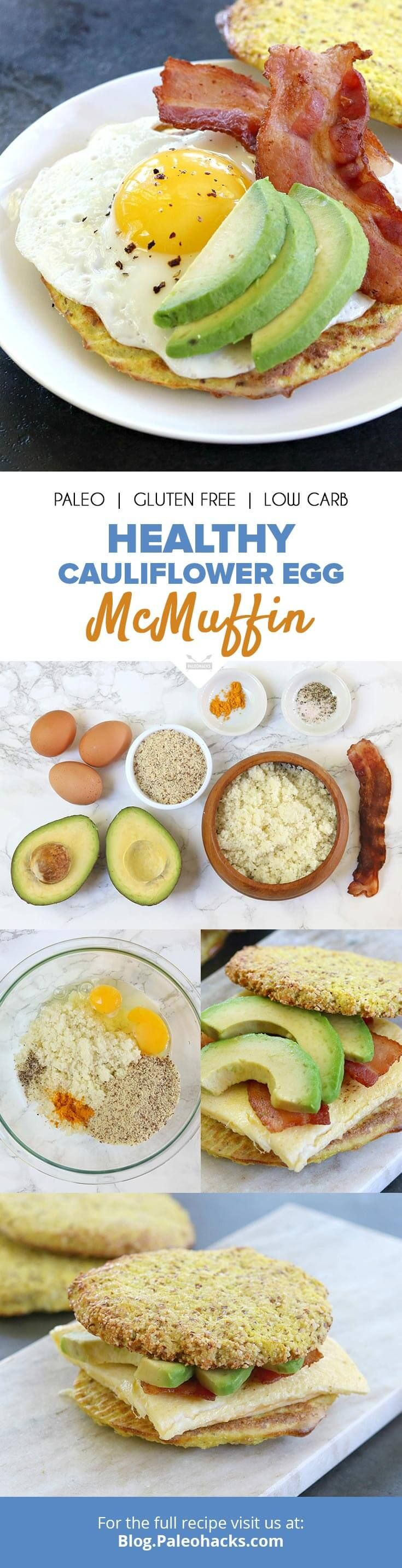 "The fast food breakfast sandwich you hate to love gets a Paleo  upgrade with turmeric-spiced cauliflower ""McMuffins"" stuffed with fresh eggs, bacon and slices of avocado. Get the recipe here: http://paleo.co/eggmcmuffin"