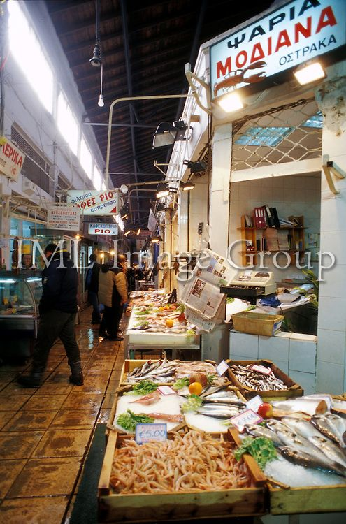 fish stalls, Modiano Central market, Thessaloniki, Central Macedonia, Greece
