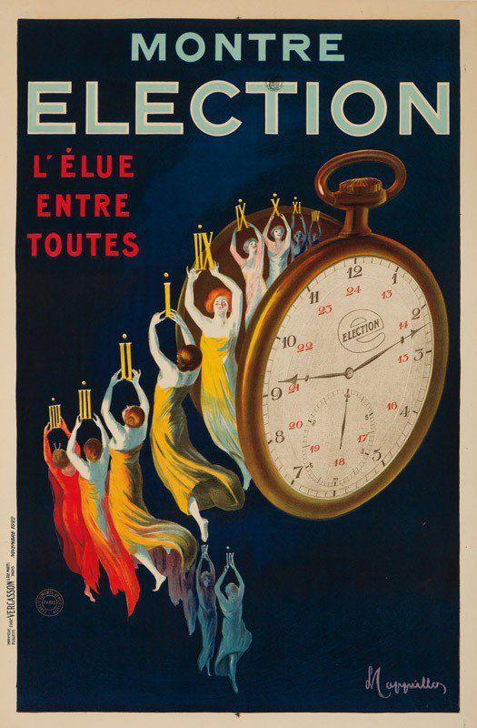 """Montre Election"" Italian Advertising Poster by Leonetto Cappiello"