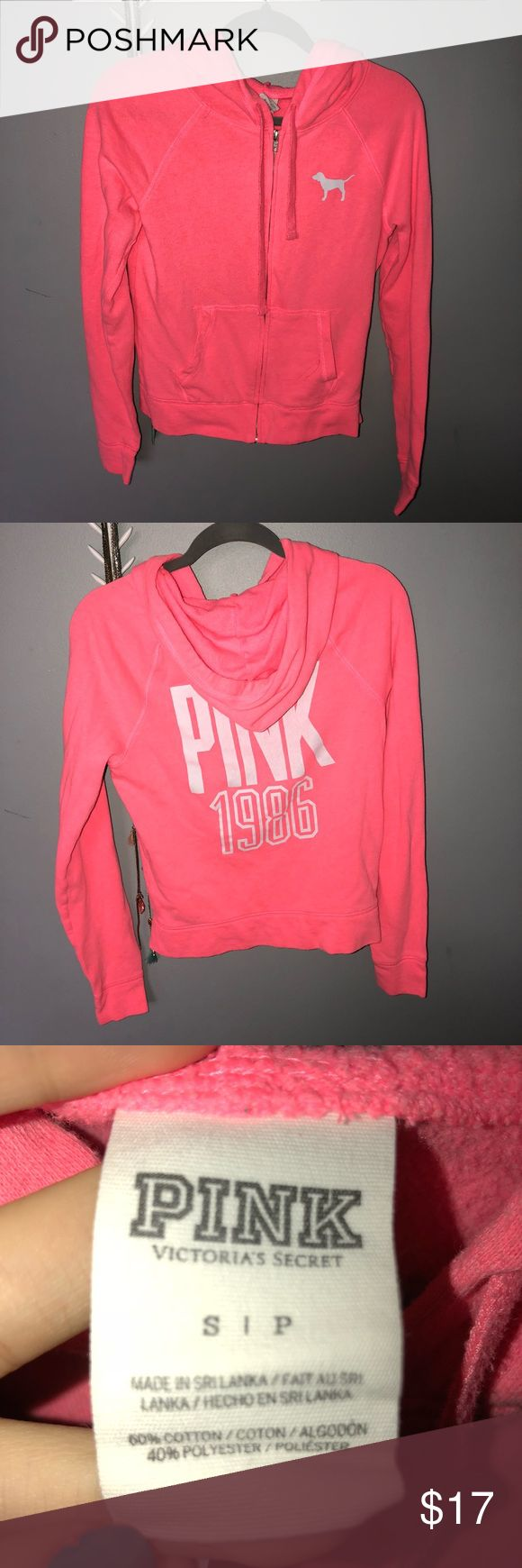 PINK Victoria's Secret Zip Up Hoodie Bright Pink with a hint of Orange • Leave an Offer! • Bundle and Save! • Feel Free to Ask Questions! PINK Victoria's Secret Tops Sweatshirts & Hoodies