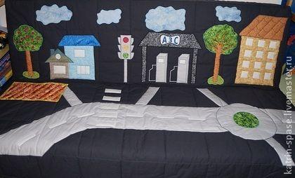 """Аппликация """"Город детства"""" - тёмно-синий,декор детской,аппликация из ткани"""