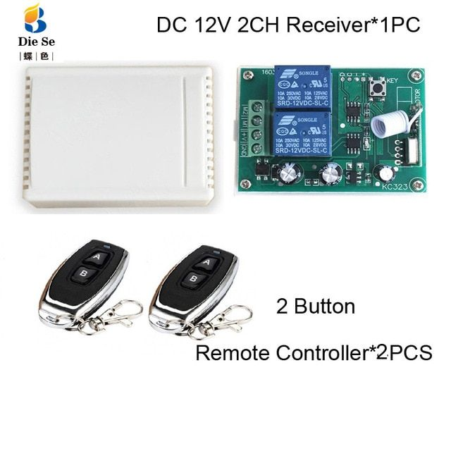 433mhz Remote Control Switch Dc 12v 2ch Relay Receiver Module Rf For Electric Motor Positive And Negative Current Control Remote Remote Control Electric Motor
