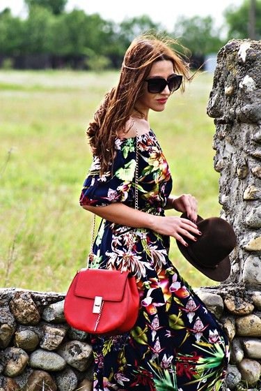 Sheinside Slit Floral Maxi Dress, Lovelyshoes Preppy Shoulder Bag