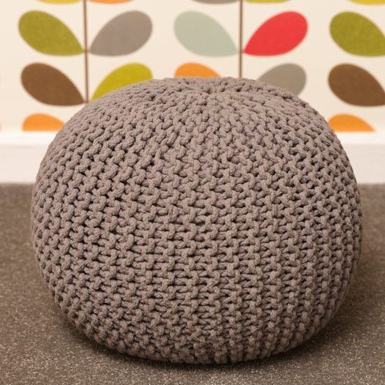 I want one!! Knitted pouffe footstool | Modern bedroom | Orla Kiely wallpaper | Bright bedroom | Bedroom makeover | PHOTO GALLERY | Style at Home | House...