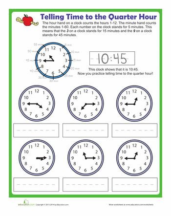 telling time to the quarter hour math first grade math worksheets 3rd grade math worksheets. Black Bedroom Furniture Sets. Home Design Ideas