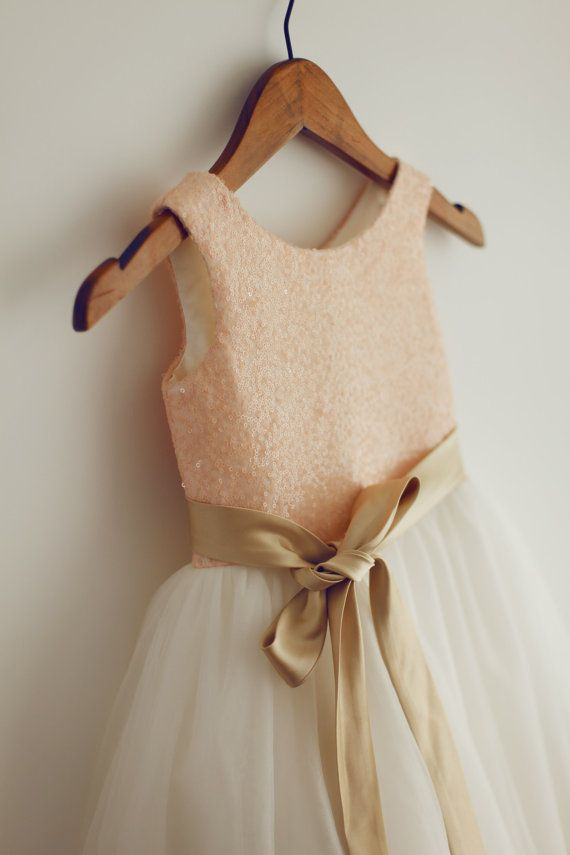 Blush Pink Sequin Tulle Flower Girl Dress PAGEANT by autoalive