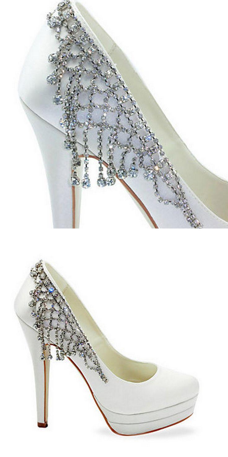Fabulous raso tacco a spillo pompe con scarpe da sposa strass (altri colori)