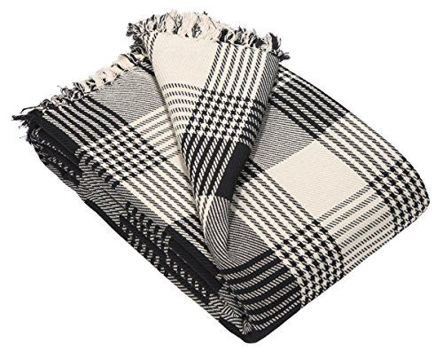 From 9.99 Ehc Premium Reversible 100% Large 150 X 200 Cm Tartan Throws For Sofa Armchair Bedspread Cotton Black Small Double
