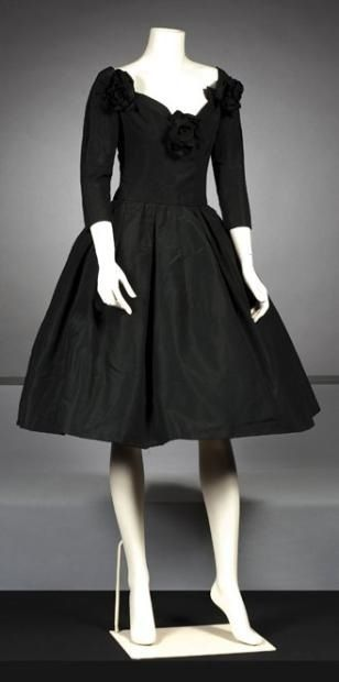 "CHRISTIAN DIOR  Haute couture Fall-Winter 1957 Dress ""Black Rose"" cocktail:"