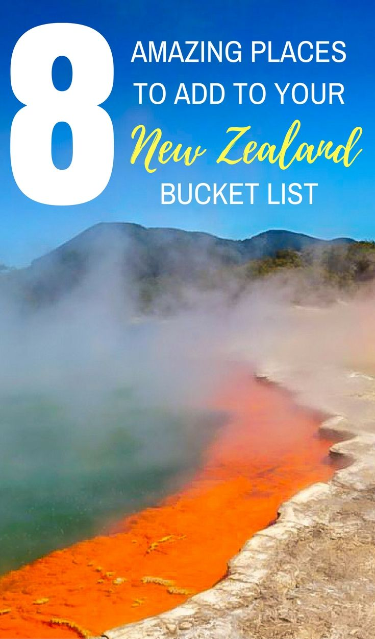 Explore the real middle earth by including these 8 destinations in your New Zealand bucket list. Visit the Hobbiton movie set, bungee jump in Queenstown and hike the glorious coast of Abel Tasman National Park.        **************************************************************  #TravelNewZealand, New Zealand travel, things to do in New Zealand, New Zealand bucket list, budget New Zealand, New Zealand South Island, New Zealand North Island.