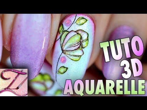 Nail Art Aquarelle Matte En 3d Tartofraises Nail Art Aquarelle