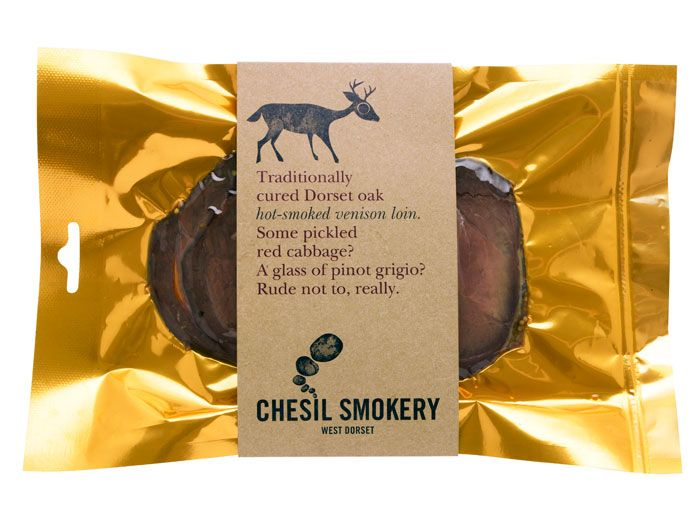 """""""Chesil Smokery is a traditional smokery in Bridport, West Dorset. With the meat being such a high quality, the cardboard packaging works brilliantly to let the product speak for itself and reflect its natural flavor."""" Designed by Big Fish."""