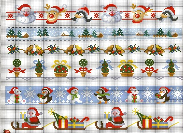 Christmas edgings for embroidery / Christmas cross stitch borders