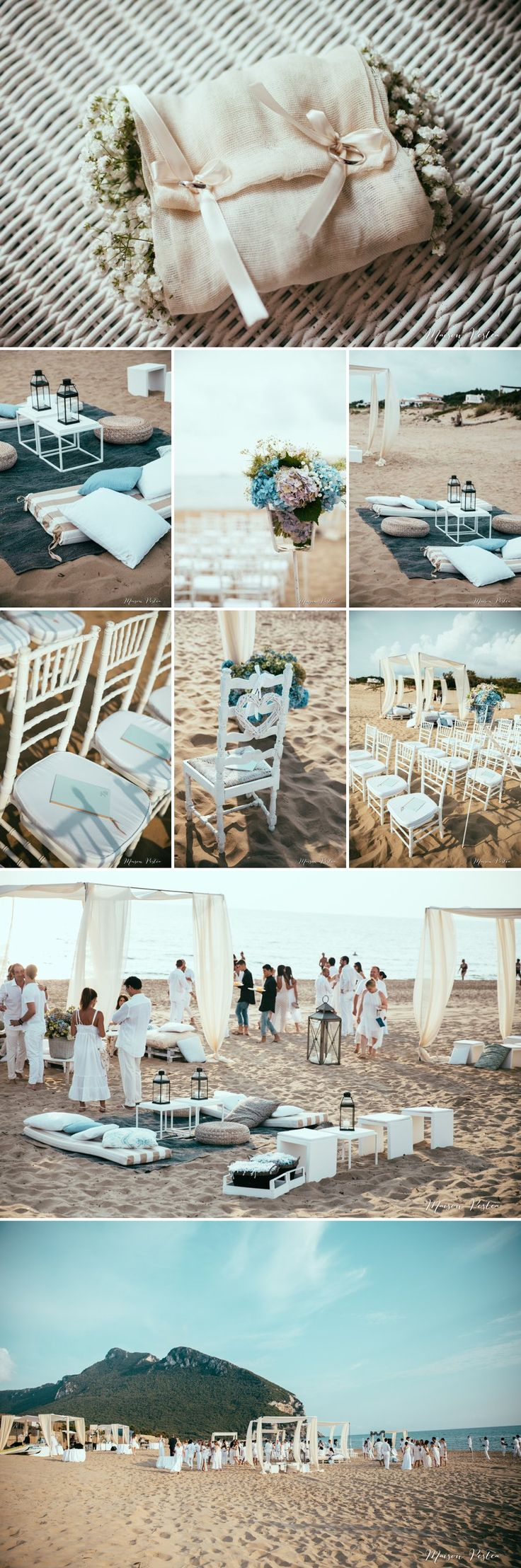 Beach wedding Italy , lovely flowers by Tea Rose, I love the heart chairs