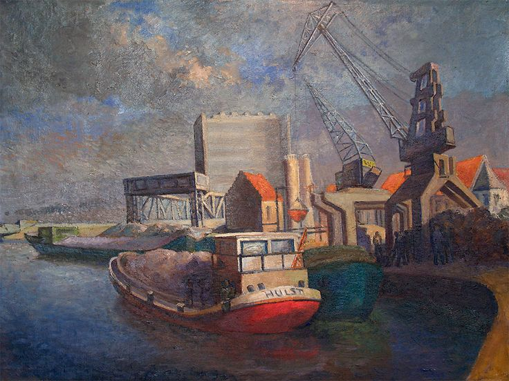 View on the old Harbor of Dendermond around 1980 - Oil on canvas