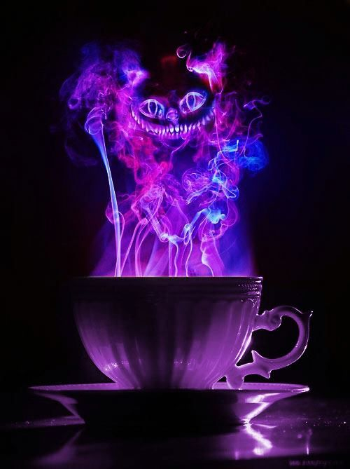 Cheshire Cat Illustration . . . We're All Mad Here Turquoise Purple. that would be cool in a tattoo