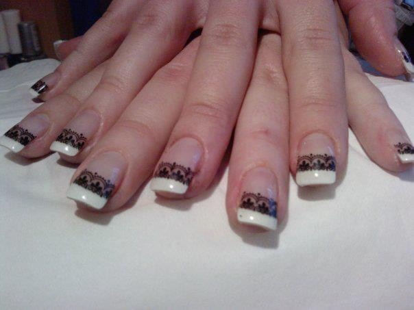 ♥ Black Lace French Manicure ♥ I have really short nail beds so this probably won't work on me but I like it :)