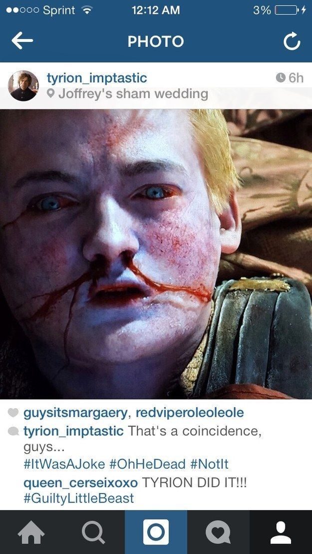 "Community Post: If Tyrion Lannister From ""Game Of Thrones"" Had Instagram"