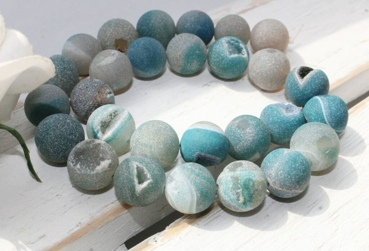 Achat, druzy, blue, blau, Edelsteine 14 mm von beads and more auf DaWanda.com