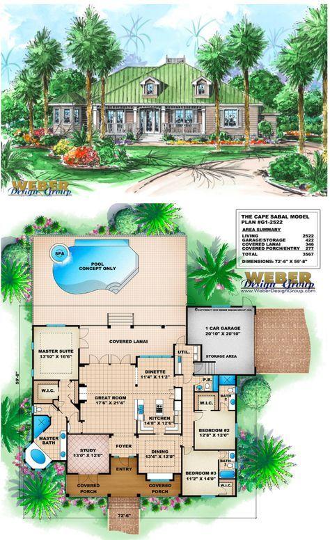 Beach House Plan Old Florida Style Home Floor Plan With Porch Pool Florida House Plans Beach House Plan Beach House Plans