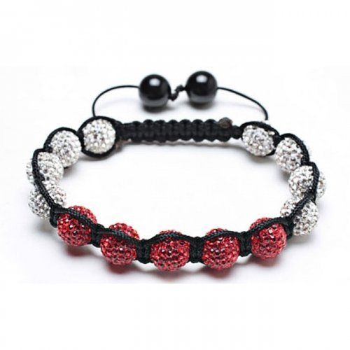 Valentines Day Gifts Bling Jewelry Crystal Beads Bracelet Shamballa Inspired Red White 9mm Bling Jewelry. $14.99. Adjustable from 7-10 Inches in length. 9mm red and white balls. Crystal ball macrame bracelet. Weighs 22.5 gems. Inspired by Shamballa Jewels. Save 82% Off!