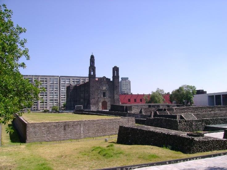 Aztec pyramids along with Spanish churches. Plaza de las Tres Culturas (Three Cultures Square).