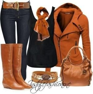 Comfortable brown jacket, black blouse, scarf, long brown boots and jeans for fall by rivergurl