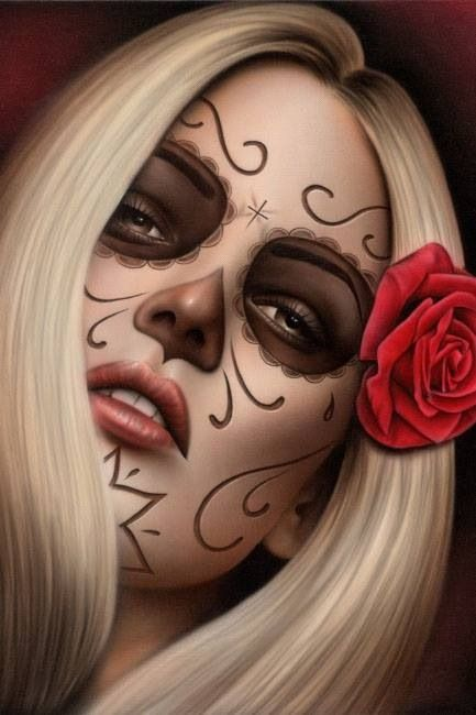 A much simpler Day of the Dead makeup idea.