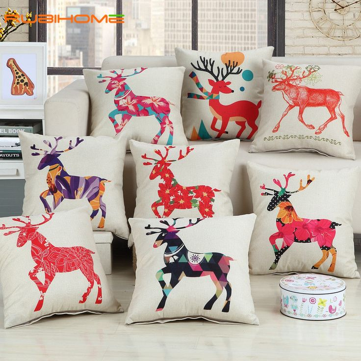 Cheap cushion cover, Buy Quality cushion cover wholesale directly from China decorative cushion covers Suppliers: RUBIHOME Wholesale(8pieces/lot) Red Deers Decorative Cushion Cover Throw Pillowcase Polyester Fabric Home Decor Sofa Seat