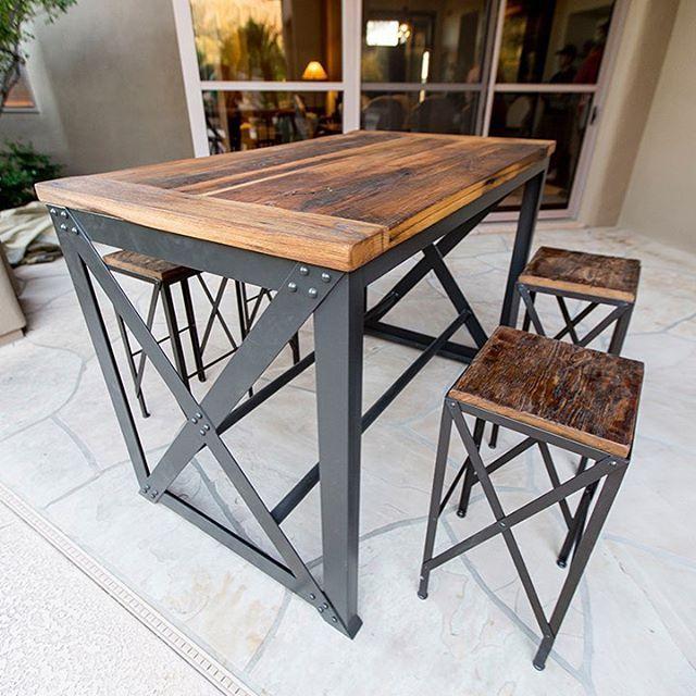 X Brace Style Reclaimed Wood Steel Outdoor Patio Table