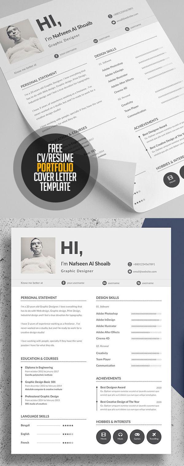 Free Resume/CV, Portfolio and Cover Letter Template #resumetemplate #coverletter #freebies #minimaldesign #portfolio