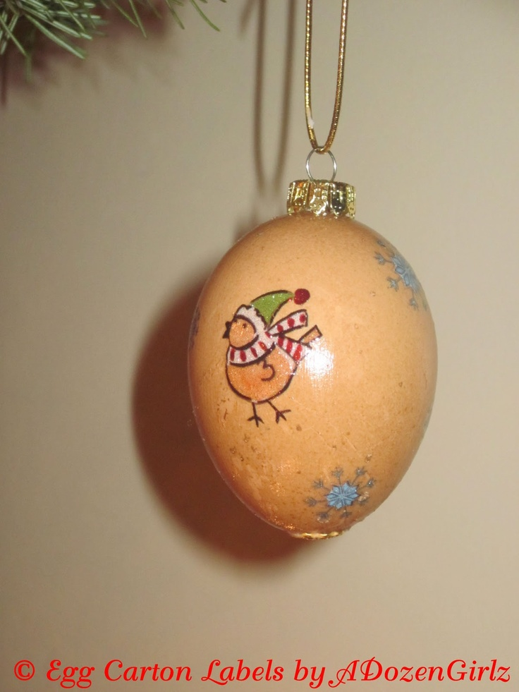 Chick ornament from blown eggs. DIY instructions