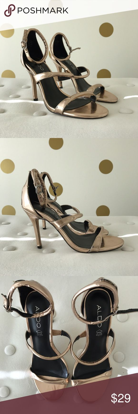ALDO Metallic Rose Gold Strappy Sandals Beautiful metallic rose gold sandals! Aldo Shoes Heels