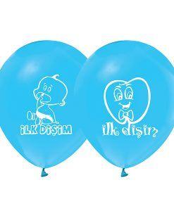 Erkek Diş Buğdayı İlk Dişim Mavi Parti Balonu