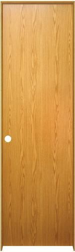 "Mastercraft® Prefinished Wheat Oak Flush Solid Core Prehung Interior Door at Menards®: Mastercraft® 18"" W x 80"" H Prefinished Wheat Oak Flush Solid Core Prehung Interior Door - Right Inswing"