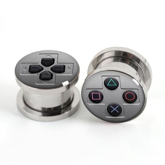 Game Console  Plugs,Screw  Flare Flesh Tunnel Ear Plug Earring Stretcher Plug Taper Tunnel by EarsPlugs on Etsy