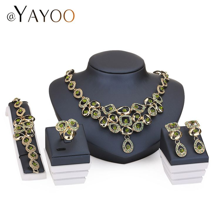 Vintage Women African Beads Jewelry Sets For Bridal Imitation Crystal Wedding Dress Accessories Earrings Pendants Necklace Rings