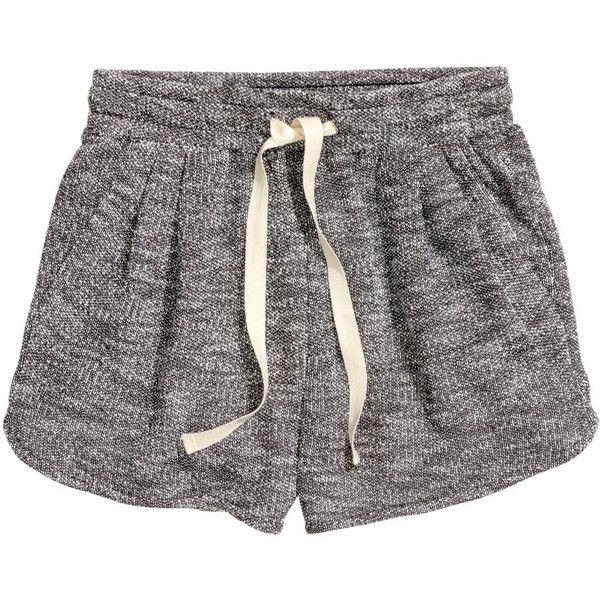 H&M Short sweatshirt shorts ($11) ❤ liked on Polyvore featuring shorts, bottoms, pants, pajamas, dark grey, micro shorts, h&m, micro short shorts, hot pants and short shorts