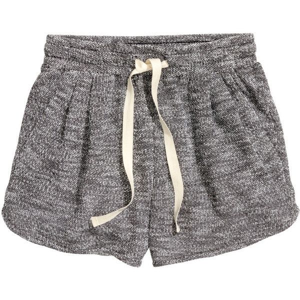 H&M Short sweatshirt shorts (70 DKK) ❤ liked on Polyvore featuring shorts, bottoms, pants, pajamas, dark grey, hot shorts, micro short shorts, pleated shorts, h&m and mini short shorts