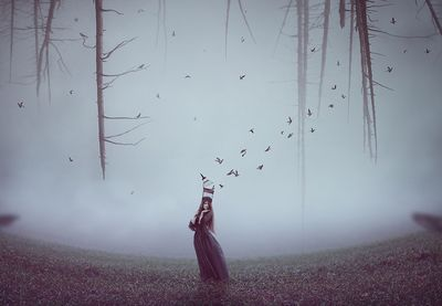 What You'll Be CreatingIn this tutorial I'll show you how to create a surreal, emotional scene featuring a woman carrying a cage. First we'll build the background using sky and grass images. Later...