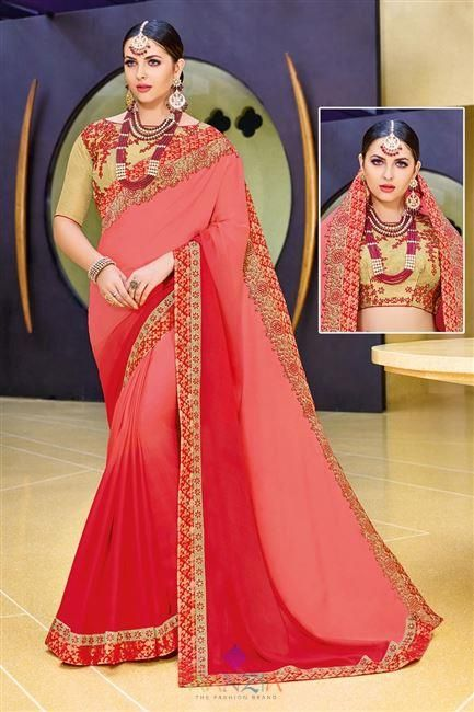 acc3d3726f6c6 Fancy Party Wear Pink Color Chiffon Fabric Designer Plain Saree with Lace  Border and Embellished Blo