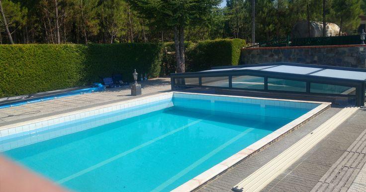 Abri bas de piscine télescopique de la gamme Premium - gris anthracite