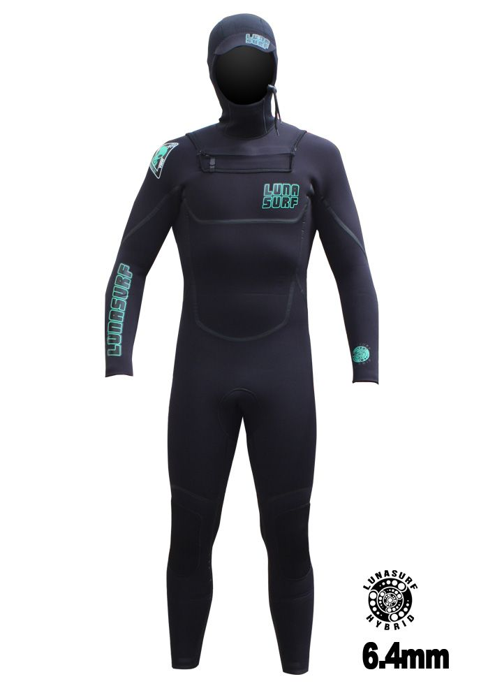 Lunasurf 6.4mm Hooded Winter Wetsuit Black Free Delivery