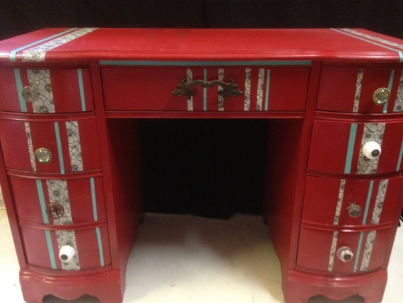 Red & Turquoise re-purposed Desk by Reincarnation LLC, $275.00