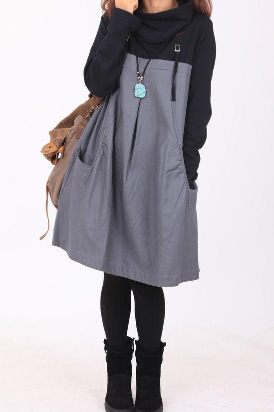 Spring new cotton pile collar the Patchwork tunic long by MaLieb, $89.00