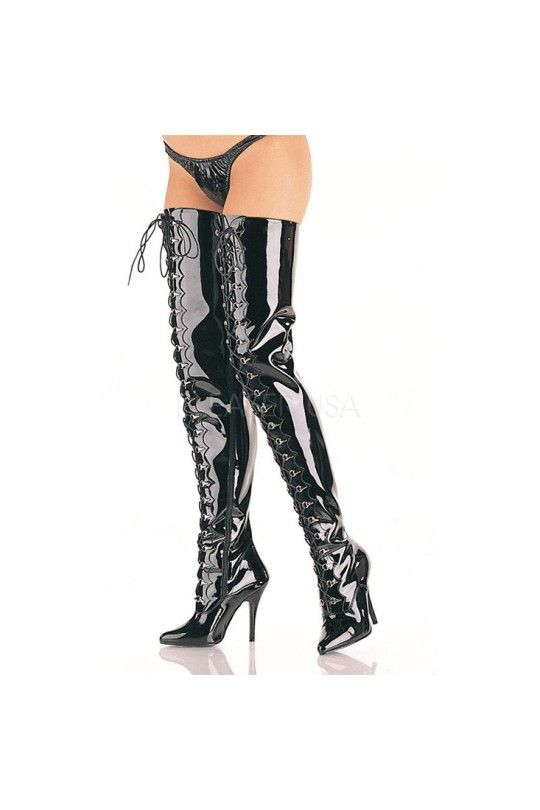 Black Lace Up Crotch Boots Patent Faux Leather