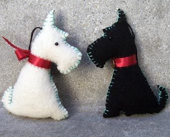 Black & White Scottie Dog Ornaments by leafpeople, via Flickr