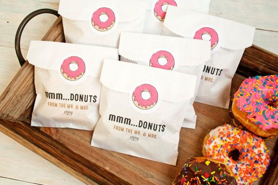 Hochzeit Gunst - Donut-Tasche und Aufkleber - Wachs ausgekleidet Gunst Bag - 25 weiß Gunst Taschen und Aufkleber inklusive